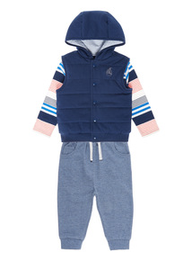Boys Navy T-shirt, Gilet And Jogger Set (0-24 months)