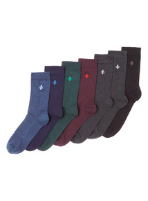 Multicoloured Seven Pack Stay Fresh Socks