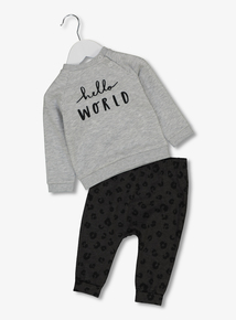 Grey Leopard Print Trousers And Hello World Sweater Set