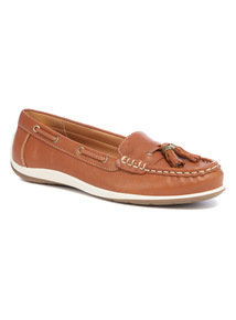 Tan Leather Boat Loafers