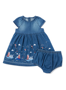 Denim Embroidered Lighthouse Dress and Shorts Set  (0-24 months)