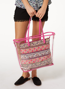 Multicoloured Floral Printed Plastic Shopper Swim Bag
