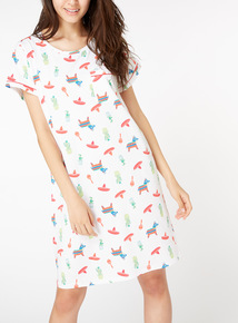 White Piñata Print Nightdress