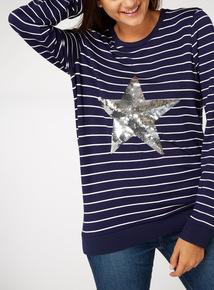 Stripe Print Sequin Star Top