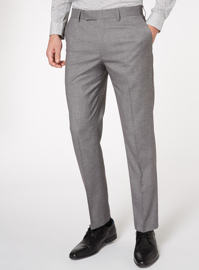 Grey Grindle Stretch Suit Tailored Fit Trousers