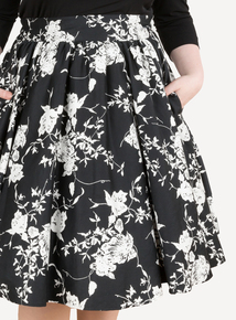 EMILY Black & White Ashley High Waist Swing Skirt