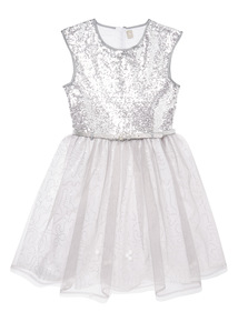 Silver Sequin Occasion Dress (3-14 years)