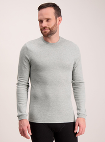 Grey Thermal Long Sleeve T-Shirt