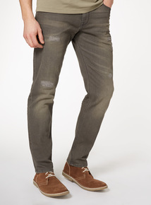 Grey Distressed Tapered Jeans With Stretch
