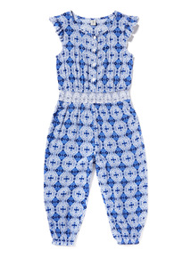 Blue and White Tile Print Jumpsuit (3-14 years)
