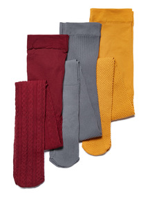Multicoloured 3 Pack Cable Knit Opaque Tights (2-12 years)