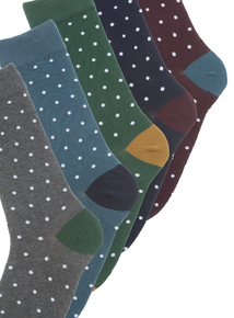 Multicoloured Spotted Stay Fresh Socks 5 Pack