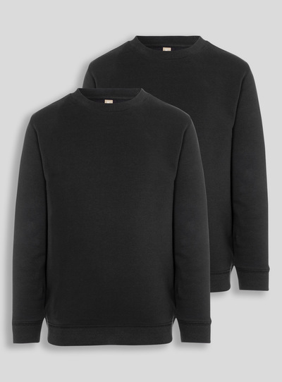 Black Crew Sweatshirts 2 Pack (8-16 years)