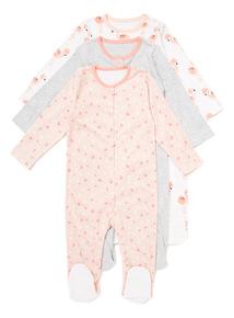 3 Pack Multicoloured Flamingo Sleepsuits