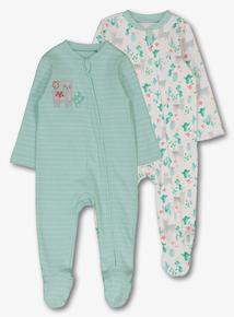 9c09028124b White & Mint Green Llama Sleepsuit 2 Pack (Newborn-24 Months)