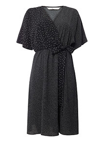 Monochrome Mix Spot Wrap Dress