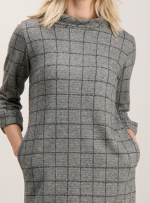 Monochrome Check Ponte Shift Dress