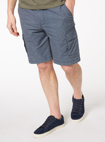 Blue Dot Print Cargo Shorts