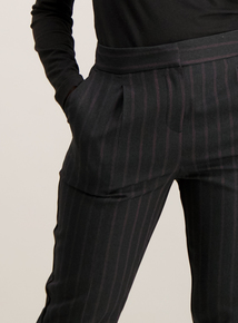 Black & Pink Pinstripe Tapered Trousers