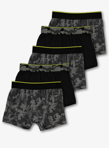 Black & Grey Camouflage Trunks 5 Pack (3-14 years)