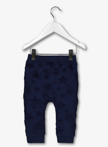 Navy Embossed Star Joggers
