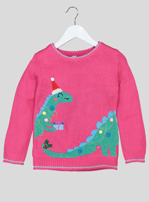Pink Christmas Dinosaur Jumper (9 Months - 6 Years)