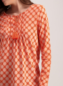 Orange Geometric Floral Print  Pintuck Top