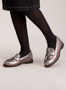 Premium Silver Leather Loafers