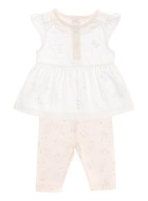 Girls Pink Peter Rabbit Dress And Leggings Set (0 - 12 months)