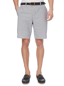 Blue Striped Belted Chino Shorts