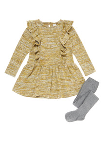 Yellow Frill Snit Dress and Tights (9 months-6 years)