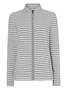 Grey Stripe Print Fleece