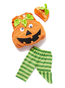 Orange Halloween Pumpkin with Hat Outfit  (0-4 years)