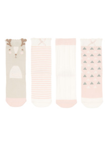 Pink 4 Pack Nordic Fables Socks (0-24 months)