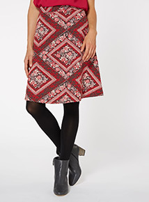 Multicoloured Ponte Full Jacquard Skirt