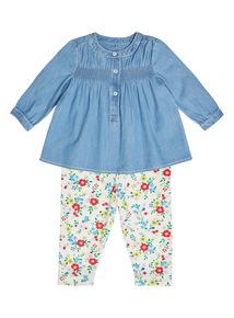 Girls Navy Denim Top And leggings Set (0-24 months)
