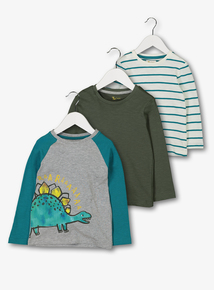 Green Dinosaur Long Sleeve T-Shirt 3 Pack (9 Months - 6 Years)