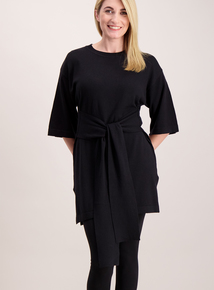 Black Wide Sleeve Knitted Tunic