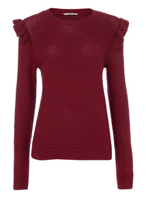Purple Frill Shoulder Jumper