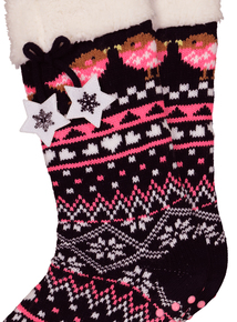 Multicoloured Knitted Slipper Socks