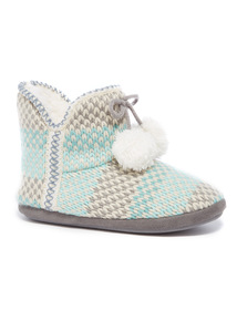Multicoloured Knitted Slipper Boots