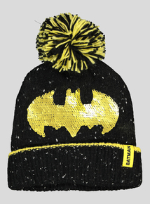Batman Black & Yellow Reversible Sequin Beanie (3-13 Years)