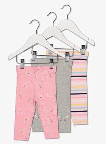 Multicoloured Unicorn Leggings 3 Pack (0-24 Months)