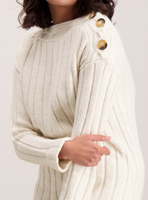 Oatmeal Beige Boat Neck Cable Tunic