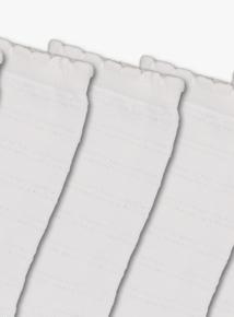 White Ankle Sparkle Socks 5 Pack (6 infant-5.5 adult)