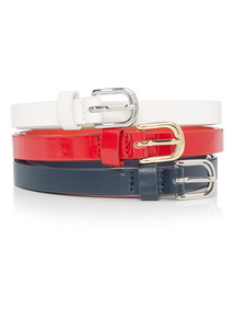 Multicoloured thin belts 3 Pack
