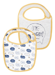 Grey Two Pack I'm Hungry Bibs (0-24 months)