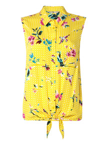 Yellow Floral Tie Front Shirt