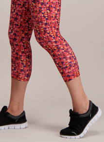 Active Multicoloured Geometric Cropped Leggings
