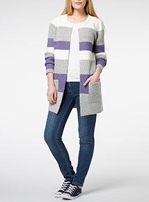 Multicoloured Colour Block Cardigan